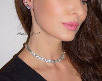 Aria Necklace. Gorgeous Choker Necklace with Cubic Zirconia and Platinum Plating. High Quality Classy Sexy Choker Necklace. Bridal Necklace.