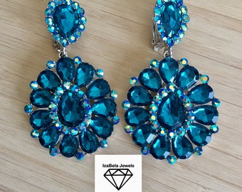 Deep Turquoise Clip On Earrings with Multicolor Stones. Statement Flower Earrings. Bohemian Earrings. Boho Jewelry.