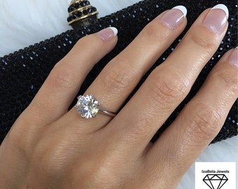 Grace Ring. High Shine 3 Carat Cubic Zirconia Stone and 925 Sterling Silver. Engagement Ring. Solitaire Ring. Promise Ring. Bridal Jewelry.