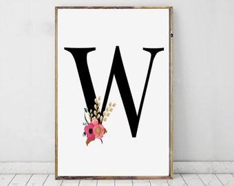 Nursery Print, Initial Print, W Print, W Monogram Letter, Personalised Print, Digital Download, Instant Download, Printable Art