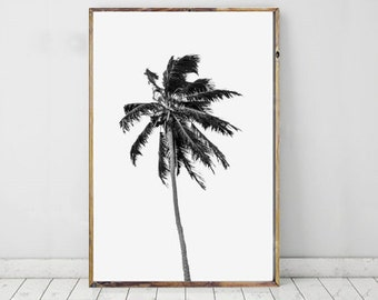 Palm Tree Printable Art, Black and White Photography, Tropical Print