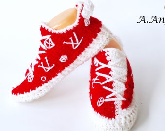 big sale 04463 42255 Crochet boots for adults Crochet shoes Shoes for house The ...