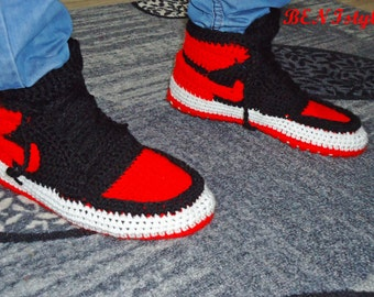 half off 51868 e25f3 Air Jordan Bred Shoes, Crochet Converse Slippers, Adult Shoes, House  Slippers, Men s Crochet Shoes, Men s Crochet Adult Converse Slippers,