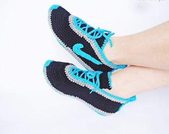 Crochet Men's Shoes, House Shoes, Crochet  Sneakers, Crochet Men Sneakers, Inspired Tennis Shoes, Warm Slippers, Home Shoes, Blue Men Shoes