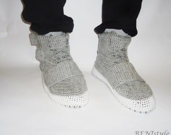 Crochet boots for adults, Crochet shoes, Shoes for house, Gray Men's Shoes, Sports Shoes for Men, Unisex's Shoes,