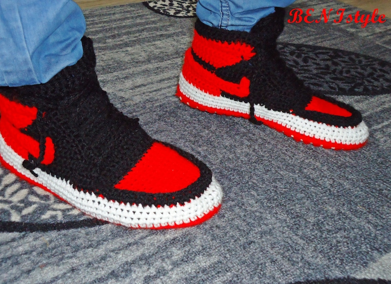 8bec286d37829 Air Jordan Bred Shoes Crochet Converse Slippers Adult