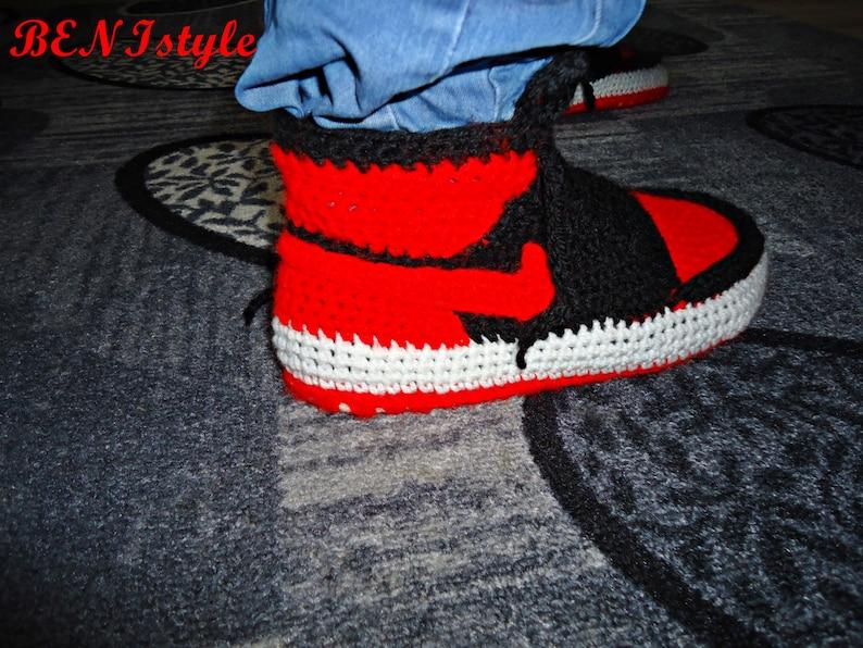 e9420ab461b0c5 Air Jordan Bred Shoes Crochet Converse Slippers Adult