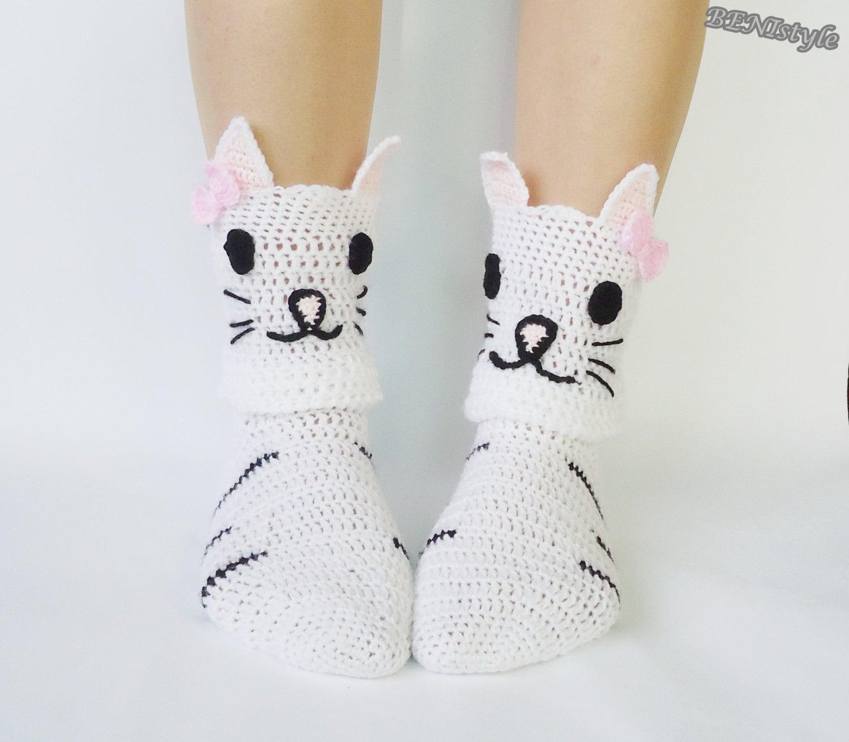 Häkeln Sie Socken, Socken Katze, Katze Hausschuhe, Haussocken, Tier Socken,  Frauen Socken, Kätzchen Gesicht Socken, Katzenartige Füße, Crazy Cat Lady  ...
