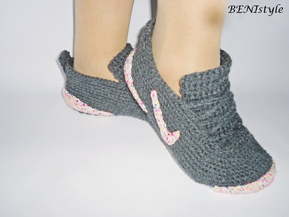 Häkeln Frauenschuhe Grau Sneakers Converse Hausschuhe Etsy