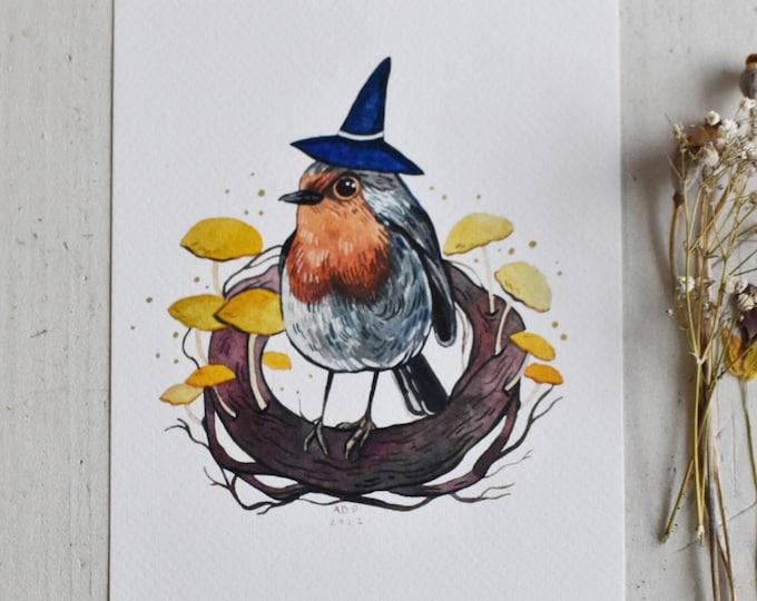 Multicolor Print Digital A5 Print Cute Bird Art Print of Robin Bird And Mushroom Botanical Illustration