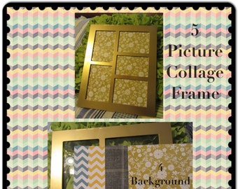Collage Frame 5 Photo Gold Wooden Vintage 4 Background Papers Home Decor Country Decor Cottage Chic Victorian Gift Shelf Sitter Wall Art