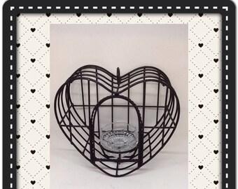 Birdcage Vintage Heart Shaped Black Wrought Iron Candle Holder Home Decor Country Decor Cottage Chic Decor Victorian Decor Porch Patio Decor