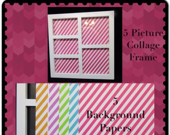 Collage Frame 5 Photo White 5 Background Paper Home Decor Country Decor Cottage Chic Decor Victorian Gift Wall Art Wall Hanging Shelf Sitter