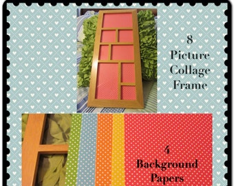 Collage Frame 8 Photo Natural Wooden Vintage  5 Background Papers Home Country Cottage Chic Victorian Decor Shelf Sitter Wall Art Supplies