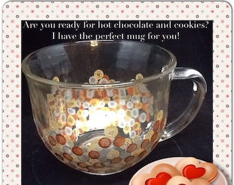 Mug Coffee Soup Clear Glass Mug Hand Painted Gold Silver Bronze HAPPY DOTS Kitchen Decor Home Decor One of a Kind Unique Mug Special Mug