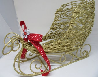 Sleigh Holiday Christmas Wire Gold Red Polka Dot Bow Bling Flower Accent Holiday Decor Christmas Decor Home Decor Country Decor Gift Storage