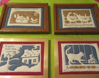 Country Sayings Quilted Choice of 4  Gold, White, and Blue in Wood Frame Red, White and Blue in Gold Frame Wall Art Wall Hanging Home Decor