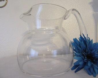 Pitcher Clear Glass Water Tea Juice Vintage No Markings Handmade Handle Unique Collectible Great Gift Idea Centerpiece Pitcher Kitchen Decor