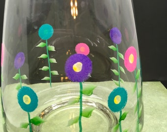 Vase Glass Flower Hand Painted Spring Flower Pink, Aqua, Purple Flowers One of a Kind Unique Home Decor Country Decor Cottage Chic Gift
