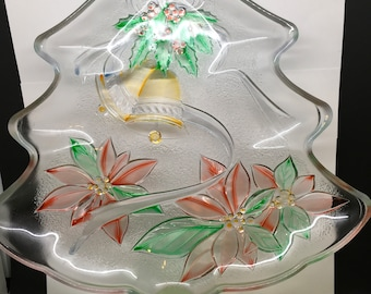 Plate, Platter, or Tray Tree Shaped Hand Painted Clear Glass Poinsettia Bell Accents Kitchen Decor Table Decor Home Decor Holiday Decor Gift