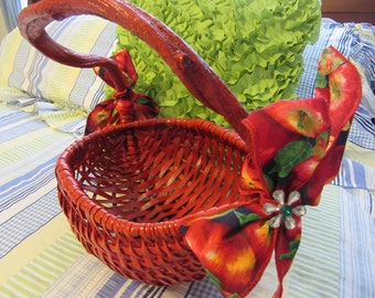 Basket Gathering Centerpiece Basket Vintage Handmade Basket Apple Bows Flower Accents Gift-Storage Home Decor Country Decor Primitive Decor