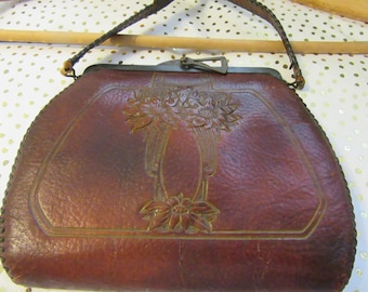 Purse Spanish Craft Brown Leather Tooled Floral Turn Lock Unique Vintage 1918 Gift for Her