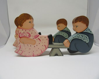 Shelf Sitters Seesaw Boy and Girl One of a Kind Folk Art Vintage Handmade Hand Painted Country Decor Primitive Decor Collectible Gift Idea