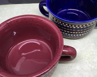 Soup Bowls  Unique One of A Kind Hand Painted Special Gold  Silver Bronze Dots  Set of Two  One is Navy and the Other is Rust Drinkware Gift
