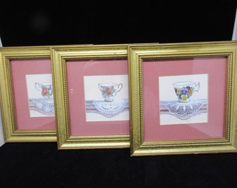 Wall Art Tea Cups and Saucers Vintage Wall Hanging Home Decor Kitchen Decor Country Decor Victorian Decor Gift  Set of 3