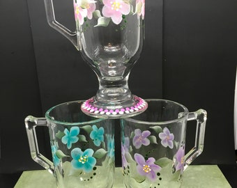 Mugs Clear Glass Hand Painted Floral  Pink, Aqua, and Purple Flowers SET of 3 Home Decor Barware Drinkware Kitchen Decor Gift One of a Kind