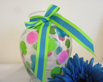Vase Clear Glass Hand Painted Happy Dots Hot Pink, Aqua, Lime Punch With Aqua Lime Green Bow Home Decor Country Decor Gift One of a Kind
