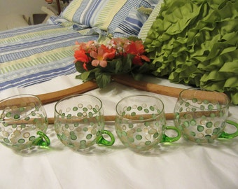 Cups Tea Punch With Green Handles Vintage Unique One of A Kind Hand Painted SMALL Clear Glass  Set of 4  Green Gold HAPPY DOTS