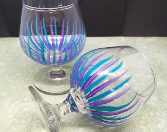 Brandy Sniffers Small Hand Painted Clear Glass Set of Two  Perfect Purple Aqua Barware Bar Decor Drinkware Kitchen Decor Dining Decor Gift