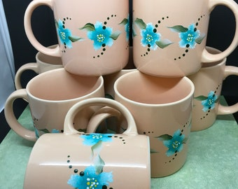 Mugs or Cups Coffee Unique One of A Kind Hand Painted Special Peach  Set of 4  Turquoise and White Stippled Flowers Drinkware Kitchen Decor