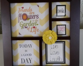 Positive Saying Upcycled Cottage Chic Picture Frame  Black Frame Yellow White Background Yellow Flower Bling Accent Home Decor Gift Idea