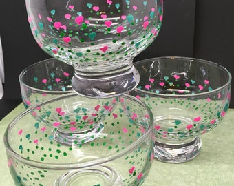 Dessert Dishes or Bowls Hand Painted SMALL Heart Flowers Pink and Aqua Heart Flowers SET of 4 Kitchen Decor Home Decor One of a Kind Gift
