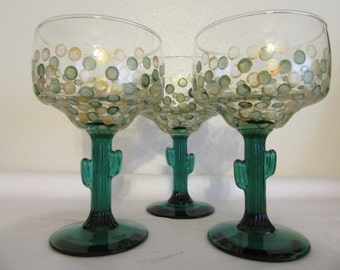 Margarita Glasses Buy 2 Get 1 FREE Unique One of a Kind Vintage Hand Painted Special  Green Saguaro Cactus Stemware   Green Gold HAPPY DOTS