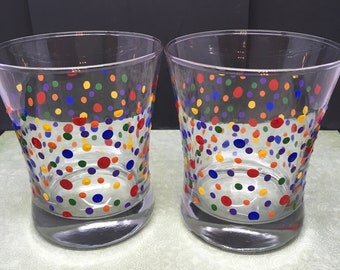 Glasses Rock, Water or Drinking Hand Painted Clear Glass Polka Dot Red, Blue, Orange, Green, Yellow Dots Gift Idea Set of Two One of a Kind