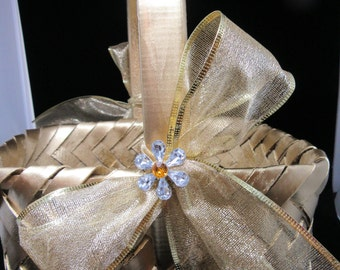 Basket Flower Girl Vintage Gold Rectangle Woven Gold Bow Bling Flower Accents Wedding Gift Storage Home Decor Cottage Chic Country Decor