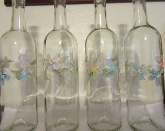 Bottles Vintage Hand Painted Floral Flowers Pink Blue Gold Aqua Purple  Wedding Table Centerpiece Unique Gift Candle Holder One of a Kind