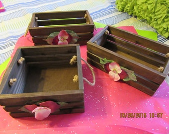 Crates Wooden Rustic Beautiful  Storage Crates Wedding Crates Rope Handles Burgundy Pink Flowers Country Home Table Decor Porch Decor Gift