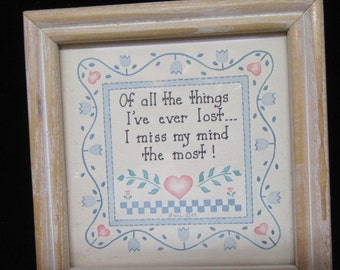 Framed Print Losing Your Mind Vintage Frame Positive Saying Gift Home Decor Country Decor Cottage Chic Decor Wall Art Wall Hanging