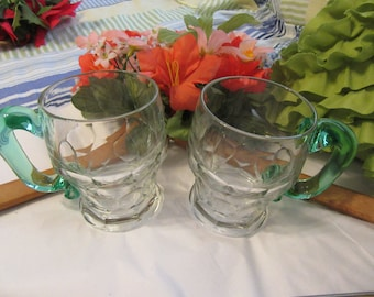 Mugs Coffee Tea Vintage Clear Glass Green Handle Decorative Handmade Handle Kitchen Decor Set of Two Gift Idea Fill With Flowers Centerpiece