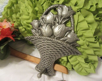 Basket Pewter Tulip With Peg Carson Pewter Number 96069 Vintage Home Decor Wall Art Wall Hanging Kitchen Decor Gift Idea