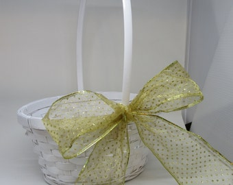 Basket Flower Girl White Woven with Gold Polka Dotted Bow Wedding Decor Country Decor Home Decor Gift Idea Catch All Basket Storage