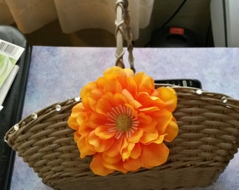 Basket Flower Girl UpCycled Cottage Chic BrownishGray Wicker Basket With an Orange Silk FlowerBling for Accents-Wedding Home DecorGift