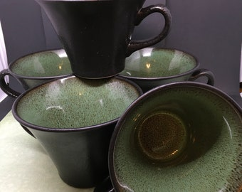Cups Mugs Coffee Tea Vintage Gabbay Wasabi Gibson Made in USA Green Fusion  Set of 4 Cups  5th FREE Kitchen Decor Drinkware Gift