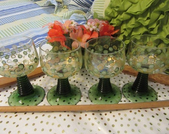TINY Glasses Unique One of a Kind Hand Painted Green Stemmed Green Gold HAPPY DOTS Set of 4 Barware Drinkware Kitchen 4 1/2 by 2 1/2 Inches