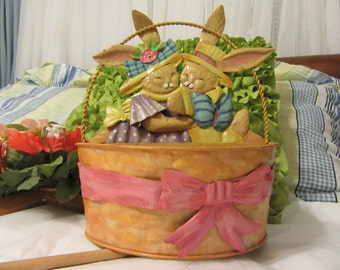 Tin Basket With Bunnies and Bows Rounded Front Flat Back Vintage Metal Easter Basket Home Decor Country Decor Gift Storage