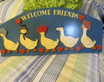 Wall Art Duck Welcome Friends Sign Handmade Hand Painted Vintage Wood One of a Kind  Porch Decor Gift Country Decor Primitive Decor